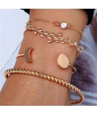 Twig and Moon Design Four Pieces Golden Bracelet Combo Set