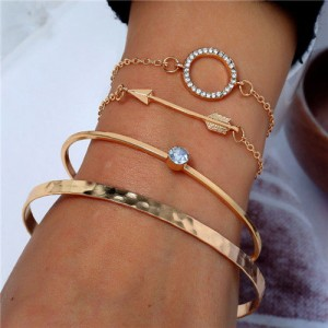 Arrow and Rhinestone Hoop Design Four Pieces Golden Bracelet Combo Set