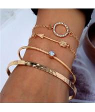 Arrow and Rhinestone Hoop Design Four Pieces Golden Bracelet Combo Set
