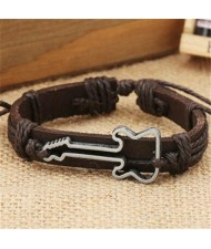 Guitar Pendant Decorated Weaving Design Punk Fashion Leather Bracelet - Dark Brown