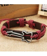 Guitar Pendant Decorated Weaving Design Punk Fashion Leather Bracelet - Red