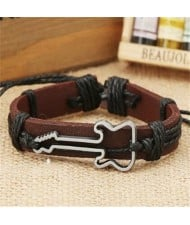 Guitar Pendant Decorated Weaving Design Punk Fashion Leather Bracelet - Black
