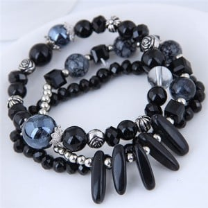 Crystal Ball and Seashell Combo Triple Layers High Fashion Bracelet - Black