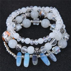 Crystal Ball and Seashell Combo Triple Layers High Fashion Bracelet - White