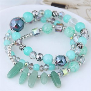 Crystal Ball and Seashell Combo Triple Layers High Fashion Bracelet - Green