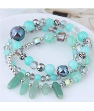 Crystal Ball and Seashell Combo Triple Layers High Fashion Bracelet - Green