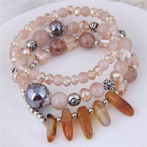 Crystal Ball and Seashell Combo Triple Layers High Fashion Bracelet - Champagne