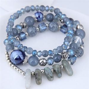 Crystal Ball and Seashell Combo Triple Layers High Fashion Bracelet - Blue
