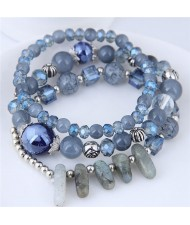 Crystal Ball and Seashell Combo Triple Layers High Fashion Bracelet - Blue