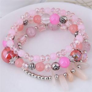 Crystal Ball and Seashell Combo Triple Layers High Fashion Bracelet - Pink