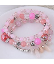 Crystal Ball and Seashell Combo Triple Layers High Fashion Bracelet - Pink