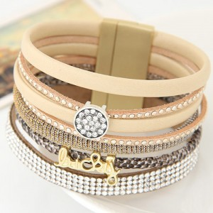 Multiple Layers Lucky Design Magnet Buckle Fashion Bangle - Beige