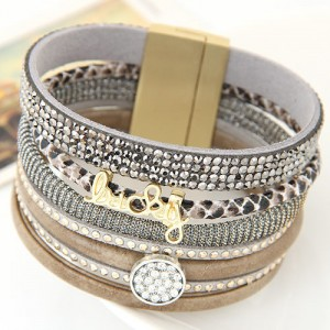 Multiple Layers Lucky Design Magnet Buckle Fashion Bangle - Gray