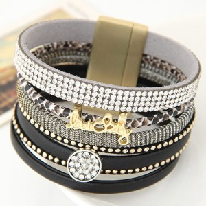 Multiple Layers Lucky Design Magnet Buckle Fashion Bangle - Black