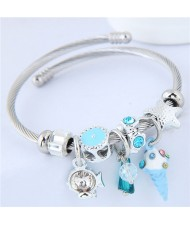Ice Cream and Fish Pendants High Fashion Beads Style Bracelet - Blue