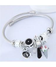 Ice Cream and Fish Pendants High Fashion Beads Style Bracelet - Black