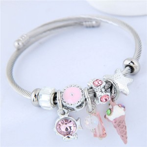 Ice Cream and Fish Pendants High Fashion Beads Style Bracelet - Pink