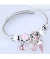 Ice Cream and Fish Pendants High Fashion Beads Style Bracelet - Pink