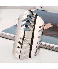 Irregular Hollow Design Punk Fashion Wide Alloy Bangle - Silver
