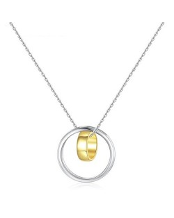 Glossy Surface Dual Circles Pendant 925 Sterling Silver Necklace