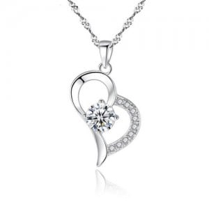 Cubic Zirconia Inlaid Graceful Heart Pendant 925 Sterling Silver Necklace
