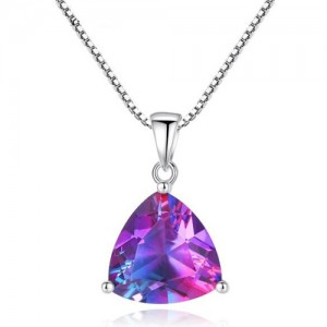 Rainbow Stone Pendant 925 Sterling Silver Necklace