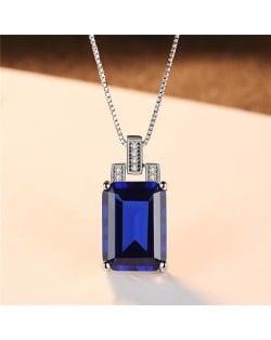 Srilanka Square Gem Pendant 925 Sterling Silver Necklace - Blue