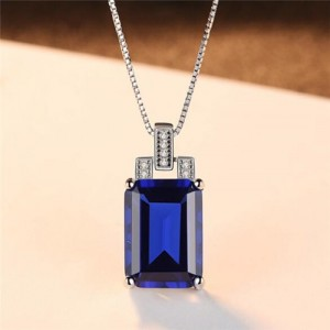 Srilanka Square Gem Pendant 925 Sterling Silver Necklace - Blue