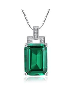 Srilanka Square Gem Pendant 925 Sterling Silver Necklace - Green