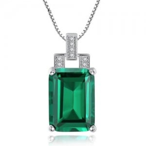 Srilanka Square Gem Pendant 925 Sterling Silver Necklace - Green