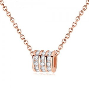 Rhinestone Embellished Bead Design 925 Sterling Silver Necklace
