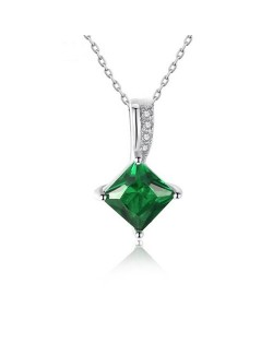 Green Gem Delicate Style 925 Sterling Silver Necklace
