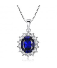 Royal Blue Gem Inlaid Luxurious Fashion 925 Sterling Silver Necklace