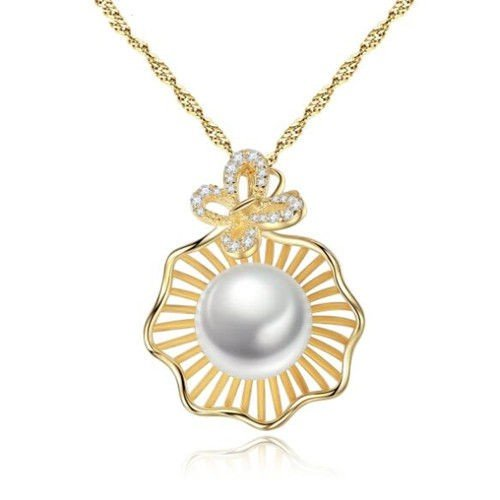 Natural Pearl Inlaid Seashell Design Pendant 18k Gold