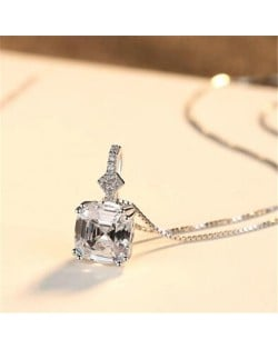 Morganite Embellished Pendant Design Premium Level 925 Sterling Silver Necklace - White
