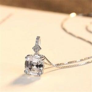 Morganite Embellished Pendant Design Premium Level 925 Sterling Silver Necklace - White