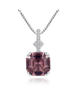 Morganite Embellished Pendant Design Premium Level 925 Sterling Silver Necklace - Light Brown