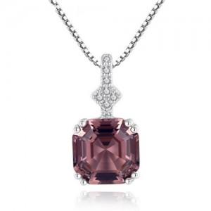 Morganite Embellished Pendant Design Premium Level 925 Sterling Silver Necklace - Light Brown