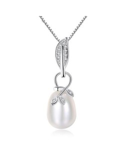 Natural Pearl Inlaid Leaves Attached Design Pendant 925 Sterling Silver Necklace