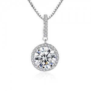 AAA Level Cubic Zirconia Inlaid Round Shape 925 Sterling Silver Necklace