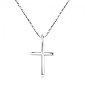 Minimalist Style Cross Pendant 925 Sterling Silver Necklace