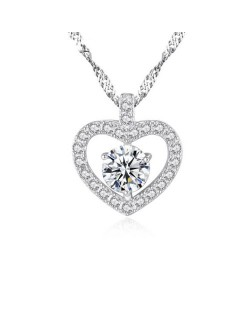 Rhinestone Embellished Graceful Heart Design 925 Sterling Silver Necklace