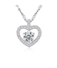 Rhinestone Embellished Graceful Heart Design 925 Sterling Silver Necklace