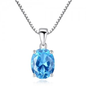 Aquamarine Gem Pendant 925 Sterling Silver Necklace