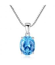 Aquamarine Gem Pendant 925 Sterling Silver Necklace