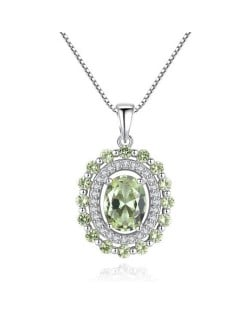 Olive Gem Embellished Luxurious Style 925 Sterling Silver Necklace
