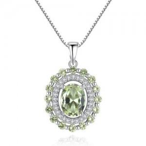 Olive Gem Embellished Luxurious Style 925 Sterling Silver Necklace