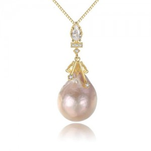Natural Pearl Pendant Baroque Style 18k Gold Plated 925 Sterling Silver Necklace
