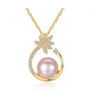 Natural Pearl Inlaid Elegant Flower Pendant 18k Gold Plated 925 Sterling Silver Necklace - Pink