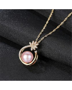 Natural Pearl Inlaid Elegant Flower Pendant 18k Gold Plated 925 Sterling Silver Necklace - Purple